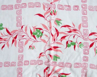 Vintage Linen Tablecloth with Floral Leaf Pattern in Red, Pink and Green - Small Square Picnic Cloth