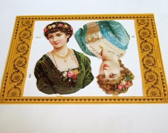 Victorian Ladies Scraps - Vintage Mamelok Press Scrap Sheet with Large Images of Girls with Flowers in Their Hair
