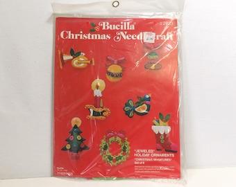 Vintage Bucilla Needlecraft Kit 2823/ Felt Christmas Miniatures Jeweled Ornaments, Unopened