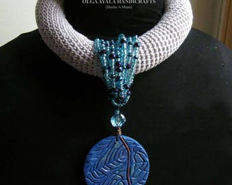 Tribal Crocheted Necklace - Lavender, Blue