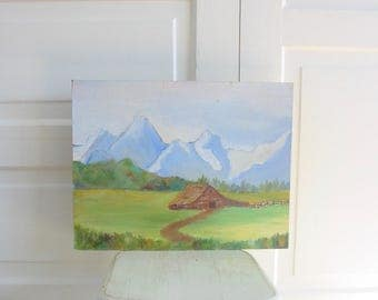 Vintage Landscape Painting, Mountain Painting, Oil Painting, Cabin Painting, Vintage Oil Painting, Vintage Oil Painting, Tree Painting