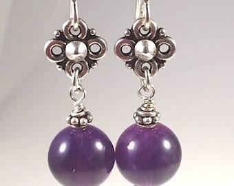 Amethyst Earrings. Amethyst and Silver Earrings, Purple Earrings. Beautiful Regal Richness, Amethyst drop earrings