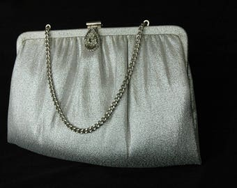 Elegant Silver Lame Vintage Clutch with Silver and Rhinestone Clasp and Chain Handle