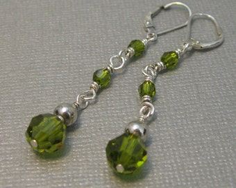 Faceted olive green swarovski bead and sterling silver dangle earring, long swarovski crystal drop earring with leverback wire