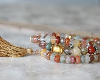 Quartz Bracelets, Tassel Bracelet, Rutilated Quartz Bracelet, Bracelet Set, Stacked Bracelets, Colorful Bracelets, Earth Toned Bracelet