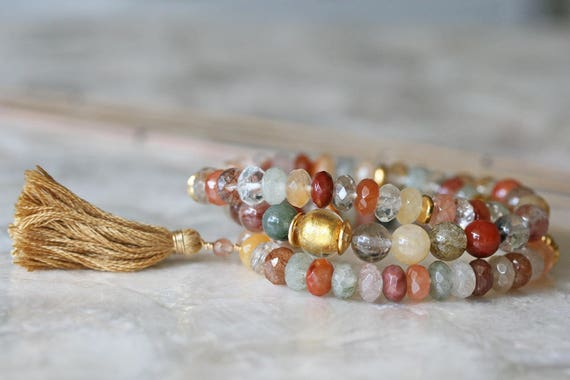 Multicolored Rutilated Quartz Bracelet Set with Tassel