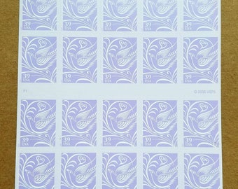 Unused wedding postage stamps - dove and heart, 39c, a pane of 20 stamps