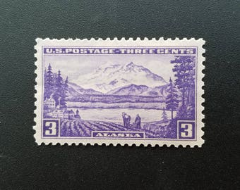 Five (5) vintage unused postage stamps - Alaska // 3 cent stamps // Face value 0.15