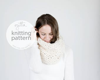 Knitting Pattern / Super Chunky Cowl, Knit Scarf, Tube Cowl / THE CHINOOK Cowl
