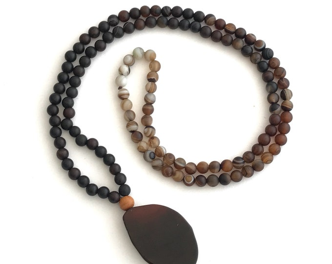 ombre brown beaded essential oil necklace with agate pendant