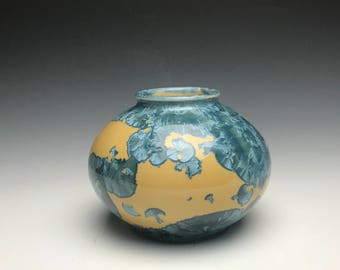 Blue and Yellow Crystalline Glazed Orb Vase - Crystalline Vase - Crystalline Glazed Vase - Blue and Orange Vase - Round Vase - Orb - Crystal