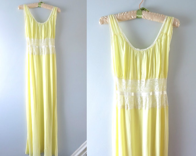 1930s Lingerie | 30s Pale Yellow Satin Gown Nightgown XS | Vintage Yellow Nightgown