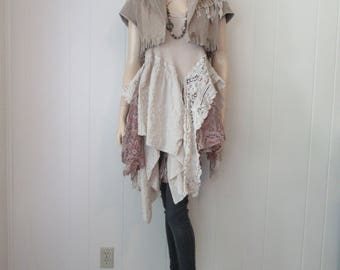 Boho Gypsy Jacket Fringe Cropped Featured in 'Altered Couture' Suede Cowgirl Shabby Chic with Vintage Lace Desert Bleached Bone Size S-M