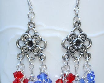 Patriotic Chandelier  Swarovski Earrings