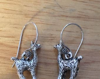 Silver Alpaca Earrings / Silver Llama Earrings