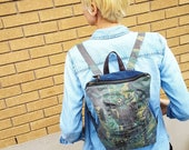 REPURPOSED Camouflage Backpack. Army Bag. Upcycled Denim Bag. Camo Bag. Recycled Denim. Grunge Bag. Ready To Ship.