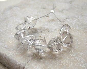 Faceted Crystal Quartz 3D Pyramid Briolette Beads Center Drilled 8 to 8.5mm - 8 Beads