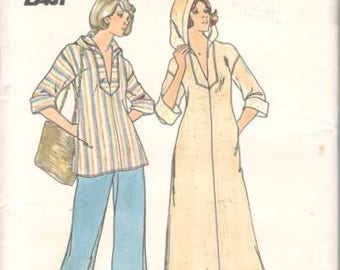Butterick 4282 1970s Misses Pullover Hooded Caftan and Top Pattern EASY  Womens Vintage Sewing Pattern Size Medium Bust 34 36 UNCUT