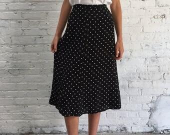 vintage Max Mara silk polka dot midi skirt / vintage designer made in Italy black and white skirt