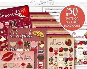 30 Valentine Bingo Cards - INSTANT DOWNLOAD
