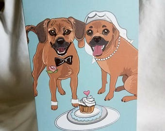 Wedding Puggles - Greeting Card