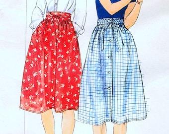 1970s Flared Skirt Pattern Size 14 Waist 28 Below Knee Skirt Front Button Skirt with Pockets Skirt Sewing Pattern