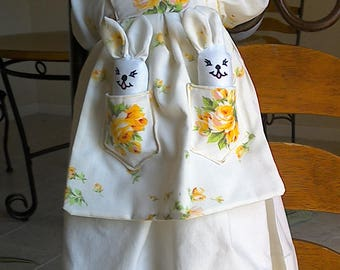 Sunny Rose Bunnita Heirloom Crochet Pillowcase Bunny Doll with Baby Bunnies