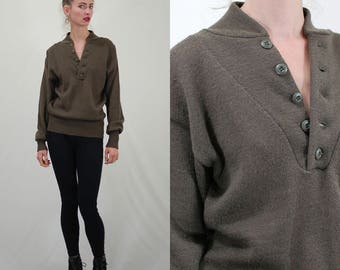 Vintage Sweater / Army Sweater / Military Sweater / Wool Sweater / Brown Drab / Olive Drab Sweater / Winter Sweater / Small Medium