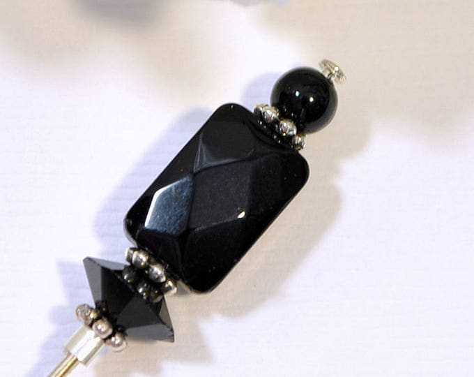 Black Hat Pin 3 inch Small Hat Pin Crystal Lapel Pin Sarong Pin Black Scarf Pin Beaded Stick Pin Handmade