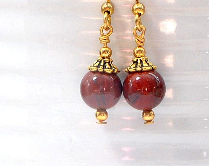Small Dangle Earring Red Jasper Earrings Drop Earring Handmade Jewelry Leverback or Gold Filled
