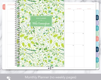 MONTHLY PLANNER | 2018 2019 no weekly view | choose your start month | 12 month calendar monthly tabs personalized | green leaves