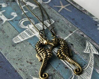 Seahorse Earrings Antique Gold Sea Horse Sealife Jewelry Ocean Creatures Beach Earrings Beachy Jewelry Long Dangles Summer Fun Jewelry