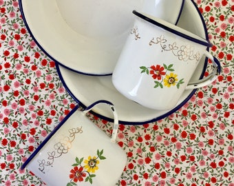 Set of 2 Enamelware Cups and Bowls with decorative flowers, White Enamel with Blue Edging