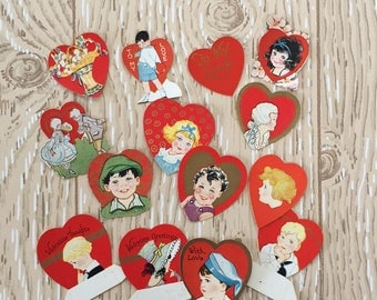 """Set of 14 Vintage 1930s Valentine Mini Cards, Gold ink, Sizes from 1"""" to 2"""" square on thick paper"""
