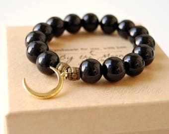 Moon Bracelet, Black Bracelet, Stretch Bracelet, Gifts, Black Moon Bracelet, Gold Bracelet, Minimalist, Boho, Mindfulness Gift, Teacher Gift