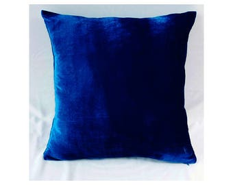 Royal blue velvet pillow, blue velvet throw pillow, velvet cushion, decorative pillow, velvet pillow cover, sofa pillow, luxury pillow,