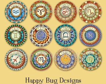 """Zodiac Sign Horoscope 1"""" Magnets for Magnetic Jewelry or use as Refrigerator Magnets - Choose One"""