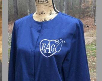 Monogrammed Nurse Lab Coat.  Monogrammed Caduceus Symbol Lab Jacket.  Nursing stethoscope. Product ID4350
