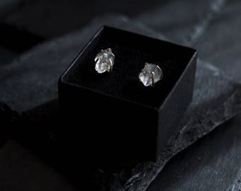 Herkimer Diamond Earrings in  Sterling Silver / Birthday Gift, Unique Diamond Earrings / Herkimer Diamond Studs / April Birthstone