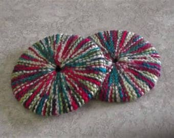 Bonnie's Hand Knit item Round Multi Color Cotton Yarn Cup/Glass *Bottom Coasters* Great For Hot Beverages * #cyicrochet