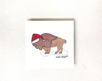 Snow What? Magnet, buffalo magnet, buffalo ny art, buffalo gift, buffalo with Santa hat, gifts under 10, christmas magnet, bufffalo ny