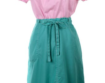 Mint Green Vintage Wrap Skirt w Pockets - Adjustable Sz M/L - Hey Viv Vintage