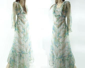70s Maxi Dress, Vintage 70s Boho Maxi, 1970s Maxi Dress,  Floral Maxi Dress, Blue Floral Dress, 70s Maxi Party Dress, Sheer Maxi Dress, s