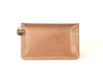 Metallic Copper Leather Wallet