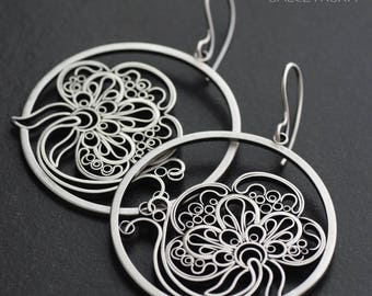 Poppies - Sterling Silver Earrings with Art Nouveau Flowers