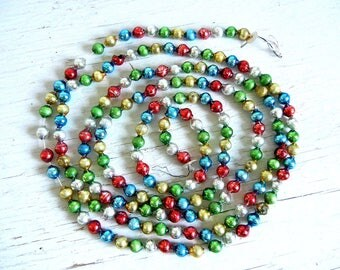Vintage Christmas Glass Garland | Red Green Silver Blue Gold Beads | Vintage Christmas Tree Decoration