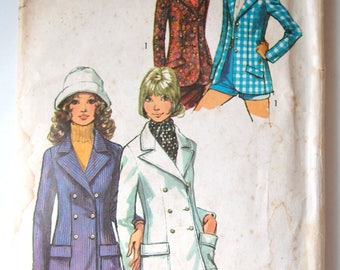 1970s 70s Blazer Pattern 70s Double Breasted Blazer Pattern Ladies Jacket 70s Fashion DIY Sewing Pattern Simplicity 9610 Bust 34