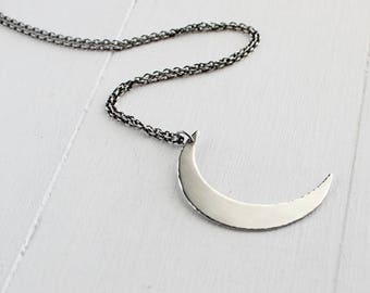 Sterling silver crecent moon pendant. boho chic, layering necklace, geometric, minimalist jewelry, Hapa Girls