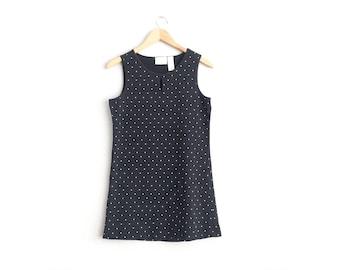 Size S // POLKA DOT DRESS // Black & White - Sleeveless - Pullover Tank Dress - Keyhole - Basics - Minimalist - Vintage '90s.