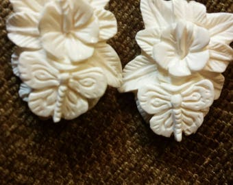 Carved Bone Earrings - Hibiscus & Butterfly